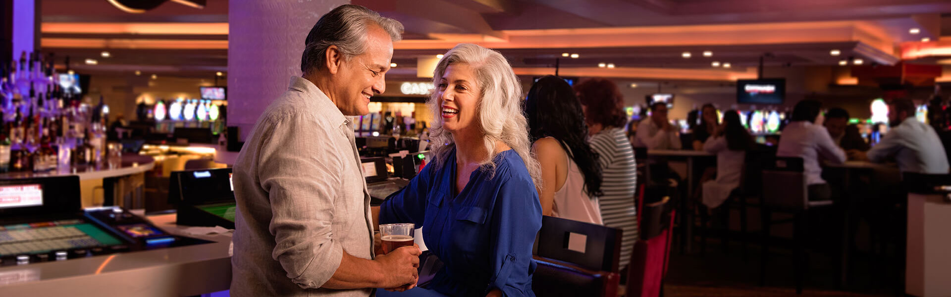 Couple playing at Chumash Center Bar